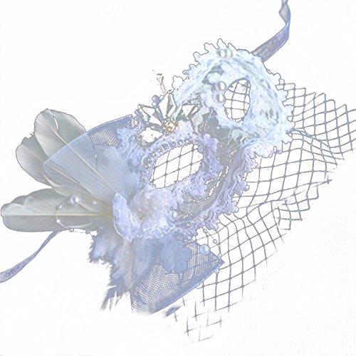 ,Make-up Tanz Maske sexy für Männer und Frauen Spitze volles Gesicht weiße Schleiermaske Schmetterling Masquerade ()