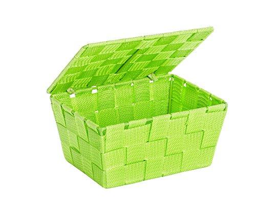 Kuchen-boxen (WENKO 22204100 Aufbewahrungskorb mit Deckel Adria Grün - Badkorb,  Polypropylen,  19 x 10 x 14 cm)