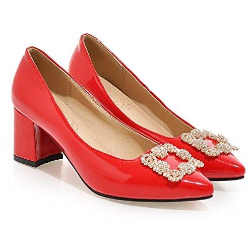TAOFFEN Damen Elegant Patent Shoes Schlupfschuhe Mitte Absatz Pumps Rot