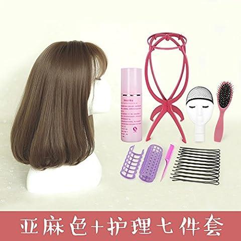 XNWP-Pelucas hembra pelo corto con cabeza de pera moda mullidas largo rizado corto golpea el aire natural del cabello