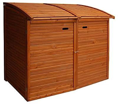 Andrewex Mülltonnenbox für 2 Tonnen 156 x 97 cm 240 Liter aus Holz Farbton: Teak Mülltonnenschrank Mülltonnenverkleidung von Andrewex auf Du und dein Garten