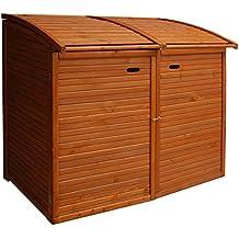 Andrewex Mülltonnenbox für 2Tonnen 156 x97 cm 240 Liter aus Holz Farbton:Teak Mülltonnenschrank Mülltonnenverkleidung