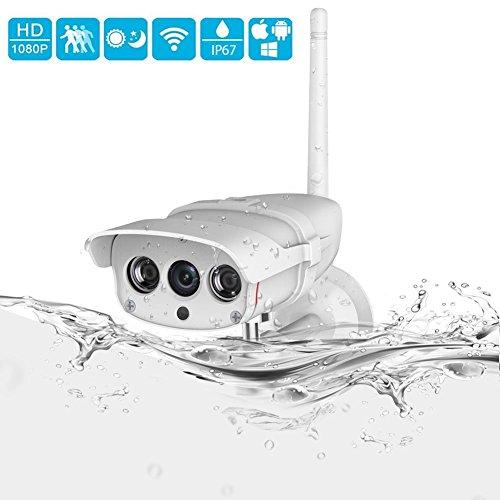 INKERSCOOP 1080P Outdoor Überwachungskamera Wireless IP Kamera IP67 wasserdicht WiFi Sicherheitskamera HD Außenkamera mit Nachtsicht und Bewegungserkennung