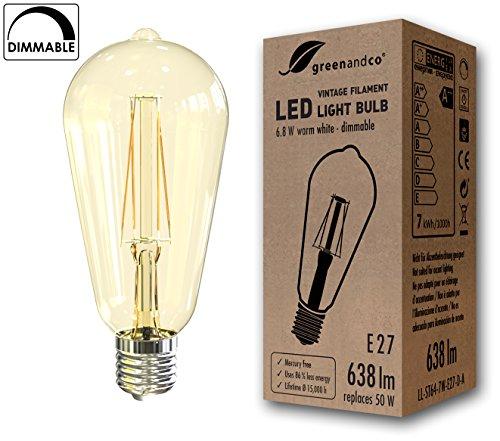 greenandco Lampadina a filamento LED dimmerabile Vintage E27 ST64 6.8W (equivalente a 50W) 638lm 2200K (bianco caldo) 360° 230V AC Vetro, nessun sfarfallio