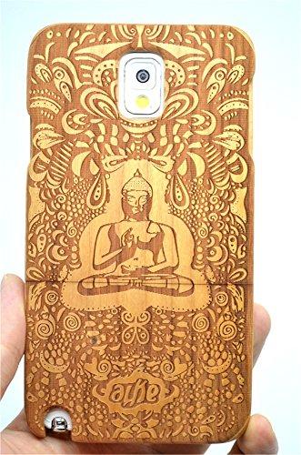 RoseFlower® Coque Samsung Galaxy Note 3 en Bois Véritable - Bouddha indien bois cerise - Fabriqué à la main en Bois / Bambou Naturel Housse / Étui avec Gratuits Film de Protecteur Écran pour votre Smartphone