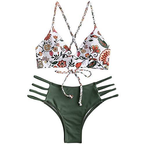 Zaful bikini set imbottito con spalline incrociate slip stampa floreale per donna 2019 (verde, s (eu.36))