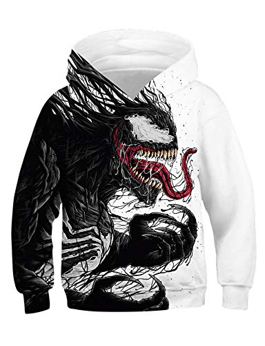 Mädchen Kostüm Avengers - PIZOFF Jungen Mädchen Hoodie 3D Print Kapuzenpullover Sweatshirts Mit Kapuze Pullover Venom Superhero Cosplay Kostüm Avengers
