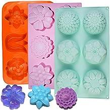 3 moldes para repostería de silicona, moldes en forma de flor, 6 cavidades de