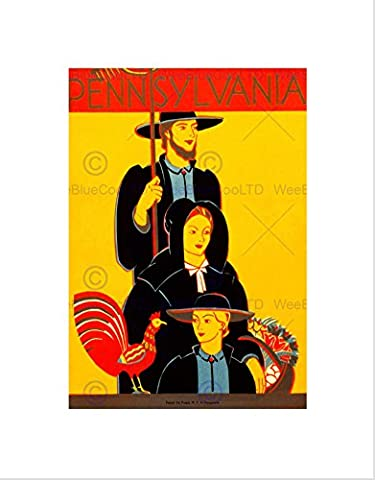 TRAVEL TRADITIONAL AMISH DRESS ROOSTER PENNSYLVANIA VINTAGE ART PRINT B12X100