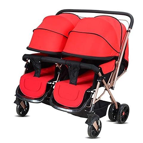 POKWAI Jumeaux Chariot Bébéà Deux Sens Peut être Couché Chocs Hauts Chariots Pliants à Dossier Haut Chariots à Bébé Double Chariot,Red-OneSize
