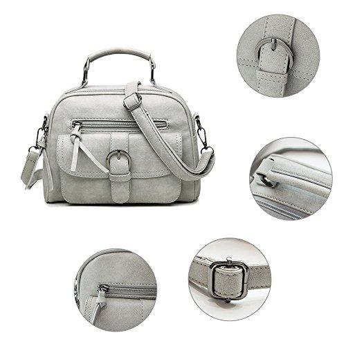 Mufly Handbag Donna Borsa a Spalla in PU con Tracolla regolabile Casual Classica Elegante per Appuntamento Grigio