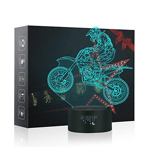 Motocross 3D Lampe Optische LED Täuschung Nachtlicht, Yunplus Motorrad 7 Farbwech ändern Berühren Sie Botton Schreibtisch lampe Tischleuchte