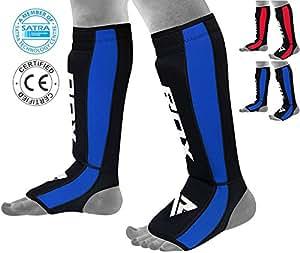 RDX Néoprène Boxe Protège Tibia Combat Pied MMA Cheville Kick Boxing Karate (Certifié CE Approuvé par SATRA) Bleu Taille L-XL