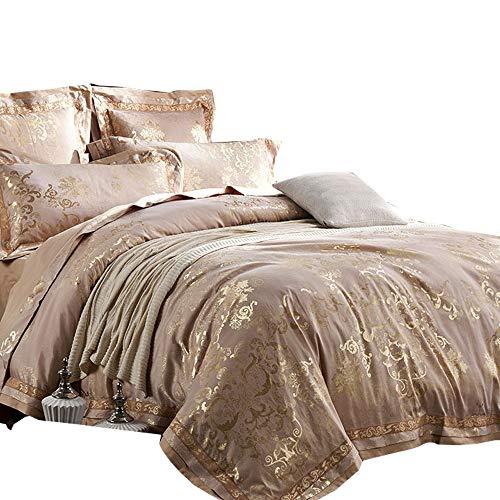 mkxi grau gold Paisley Betten europäischen Luxus Bettbezug Set Satin Baumwolle, Queen King-Set, 3-teilig, Satin, camel gold, King(104