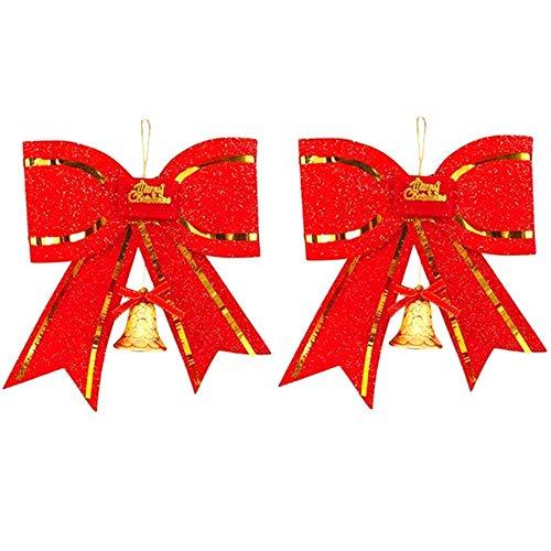 Amacoam Weihnachtsbaum Schleifen Weihnachtsbaumschmuck Rot Anhänger mit Glocken Christbaumanhänger Groß Schleifen Weihnachtsbaum PVC Weihnachtsbaum Deko Weihnachtsdeko Gesteck Deko 28 * 26cm 2 Stück