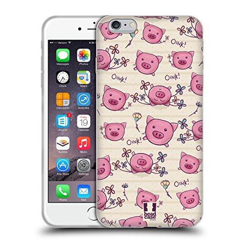 Head Case Designs Schwein Süsse Doodle Soft Gel Hülle für Apple iPhone 6 Plus / 6s Plus Schwein