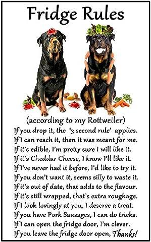 Rottweiler Gift - Fridge Rules - Large Fun flexible Fridge Magnet- size 16cms x 10 cms (approx. 6