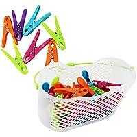 COM-FOUR® 30x pinzas para la ropa en una práctica canasta con asa (Juego de 0031 piezas 1 - cesta + soportes)