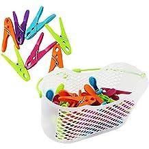 COM-FOUR® Set de 30pinzas de la ropa en una práctica cesta con asa