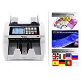 Aibecy Multi Currency Cash Money Counting Machine, Bank Note Money Counter Automatic Bill Counter, Lcd Panel UV MG IR 1 Lschter Mixed Value Counting Function Detector for Euro Dollar AUD Pounds Note Counters