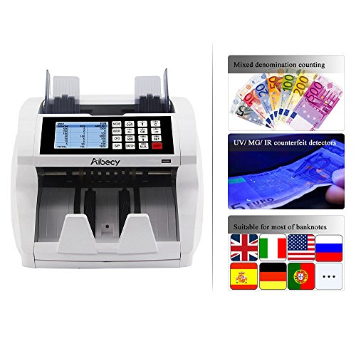 Aibecy Multi Currency Cash Money Counting Machine, Bank Note Money Counter Automatic Bill Counter, Lcd Panel UV MG IR 1 Lschter Mixed Value Counting Function Detector for Euro Dollar AUD Pounds Note Counters (Counter-bank)
