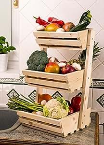 3 niveaux de rangement en bois pour fruits l gumes for Rangement legumes cuisine