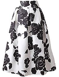 9f4f1600bb6 Faldas Mujer Elegantes Moda Estampado Flores Jacquard Falda Plisada Años 50  A-Line Swing Vintage