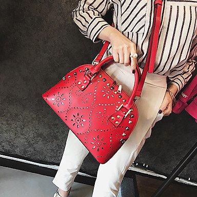 Frauen Handtasche PU Niet Hollow Formal / Hochzeit / Casual / Office & Karriere Schulter oder Tote Shell Tasche Schwarz / Rot All Seasons Ruby