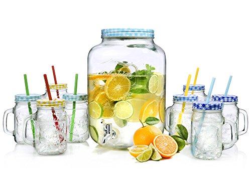 Bluespoon Getränkespender Set Retro 9 teilig | Das Set beinhaltet einen Getränkespender 7,5 L und 8 Trinkgläser 450 ml | Im angesagten Vintage-Design Blau