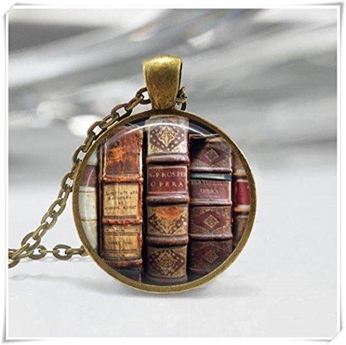 Book Halskette Librarian Jewelry Book Lover Bücherwürmer Anhänger (Librarian Mädchen)