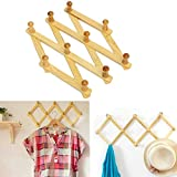 #10: CONNECTWIDE® Wooden Hanger Expandable- New Wooden Hanger Expandable Wooden Coat Rack Hat Closet Hook Fold Expanding with 10 Pegs,1 Piece, Size: (29*60*60 cm)