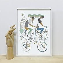 Lámina poster decorativo Bikes (bicis). Edición limitada. Cuadro diseño exclusivo, de autor. Estilo nórdico contemporáneo.