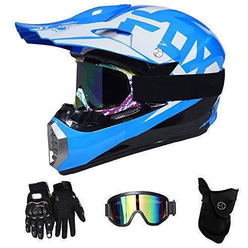 QYTK® Casque Moto Cross Enfant Bleu et Blanc, MT-58 Full Face Moto Off-Road Helmet Cross Helm avec Lunettes Gants Masque, VTT BMX Motocross Sécurité Sport Extérieure,S(52~53CM)