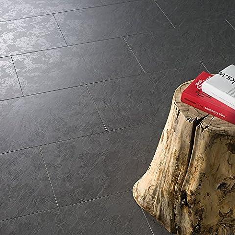 ELESGO Klick Laminat V5 Fuge ( Maxi Großfliesen NKL 32 inkl. Trittschalldämmung ) Schiefer + Double Finish 1184 x 320 x 8 x mm