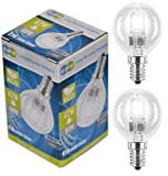 5 x Eco Halogen Energy Saving Mini Golf Balls Globes 42W = 60w SES E14 Small Edison Screw Classic Clear Round, Dimmable Light Bulbs Lamps, G45, Mains 240V
