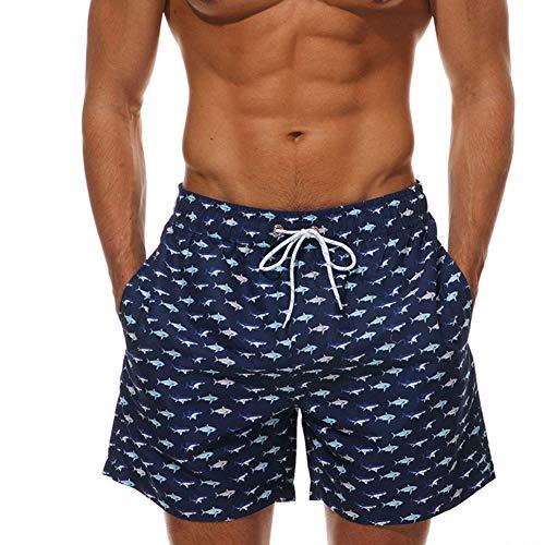 Costume da bagno uomo, morbuy uomo spiaggia leisure asciugatura veloce pantaloncini di tronchi da surf sportivi da bagno con fodera in regolabile coulisse mesh/tasche (m,pesce)