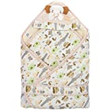 Mee Mee Cozy Cocoon Baby Wrapper With Hood, Elephant Patch, Cream