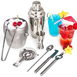Set de TecTake Kit Cocktail 8 pièces Cocktail Shaker Cocktail Mixer Shaker Barmixer 0,5 l