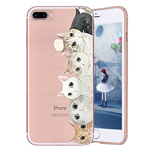 JAWSEU Coque Etui pour iPhone 5/5S/SE,iPhone 5S Coque Transparent en Silicone,iPhone SE Étui Tpu Cristal Clair,Ultra Slim Mince Créatif Motif Protecteur Téléphone Couverture Soft Silicone Crystal Clea Chat mignon