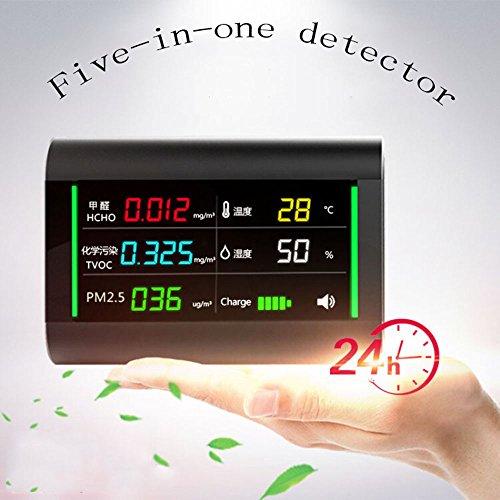 JL-Q Innenluftqualitätsdetektor Mit Formaldehyd (HCHO) / PM2.5 / TVOC/Temperatur Und Feuchtigkeit Überwachen Datenrekorder Mit Zeitanzeigefunktion Fünf-In-Einem Farbbildschirmdetektor -