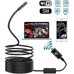 METALBAY HD Cámara Endoscópica WIFI Impermeable IP67 USB Endoscopio 2,0 Megapíxeles Video Boroscopio Diámetro de 8mm Ángulo de 70° con Cable Semirigido de 5M y 8 LED Luz Ajustable para Android, Iphone y PC