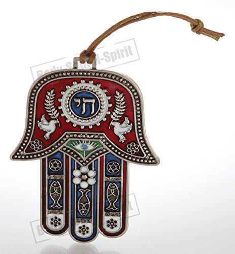 Silver tone RED CHAI zum Aufhängen hand der Fatima Glücksbringer Judaica Kabbala-Armband (evil eye Geschenk Hand, Keramik