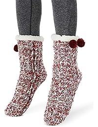 959c52e1fbe Femme Fille Christmas Chaussettes a la Maision Slipper Antidérapantes  d hiver Chaud Douce