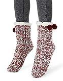 MaaMgic Calcetines Antideslizante Mujer Tejer Doble Lana Calcetines de Casa Invierno Regalo de Navidad