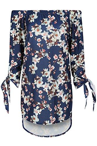 Be Jealous Damen Frauen Blumen aus der Schulter Bardot Krawatte Knot Ärmel Hoch niedrig Mini Kleid Marine Blumen