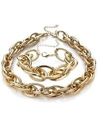 Silvity Damen Kunststoff Kette Statement Glieder SET Halskette + Armband Damen Ankerketten-Collier Farbe: Gold 18x 2cm / 46 x 2 cm 880901-S-20