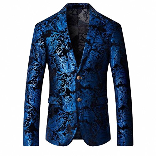 GOMY Slim Fit Herren Bunter Sakko Muster Casual Blazer Jacke Hochzeit Party (S, Blau)