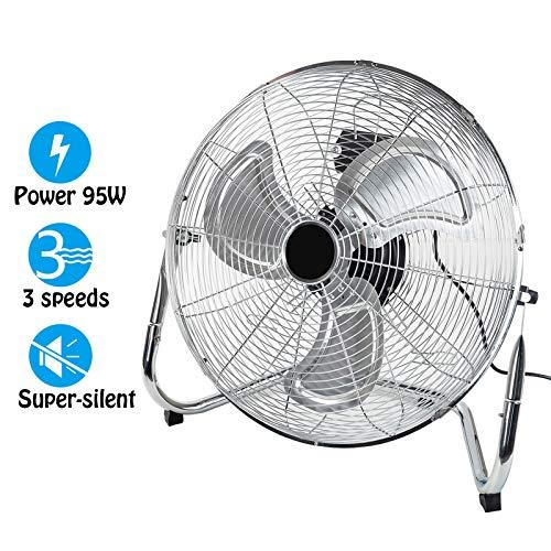 """Dawoo18""""Ventilateur industriel 50cm Ventilateur sur pied 3 vitesses Puissant ventilateur de plancher à haute vélocité 95W , Fit pour atelier, entrepôt (argent)"""