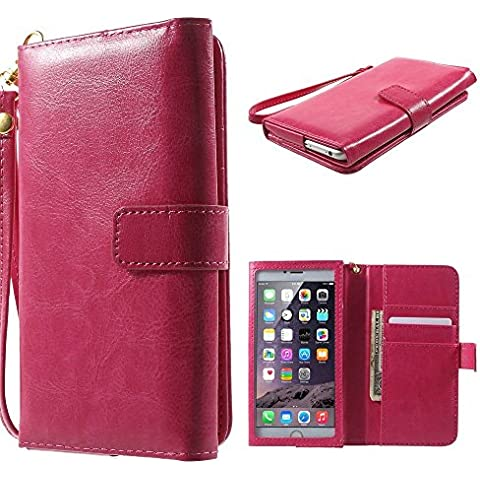 DFV mobile - Crazy Horse PU Leather Wallet Case with Frame Touchable Screen and Card Slots for => Elephone P7000 - 5.5