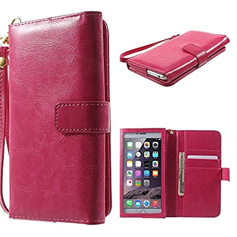 DFV mobile - Crazy Horse PU Leather Wallet Case with Frame Touchable Screen and Card Slots for => PRESTIGIO MULTIPHONE 5300 DUO > Pink